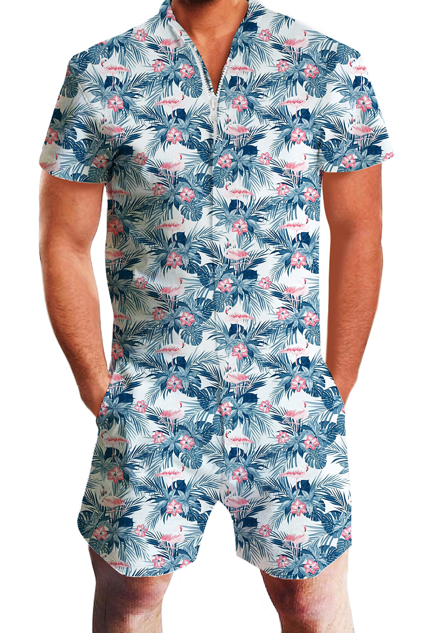 bd98d209ca32 Galleon - Leapparel Men Printed One Piece Jumpsuit Zip Short Sleeve Pants  Rompers Overalls (XL