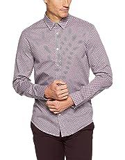 Ben Sherman Men Long Sleeve Apple Print Twill Shirt