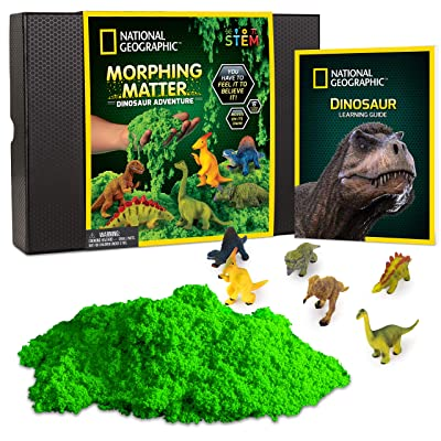 NATIONAL GEOGRAPHIC Morphing Matter Dinosaur Kit – 3 Cups of Morphing Matter, 6 Dinosaur Figures, Package Converts Into Play Setting, Astounding Kinetic Sensory Activity for Kids: Toys & Games