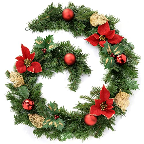 werchristmas decorated garland christmas decoration 6 feet redgold