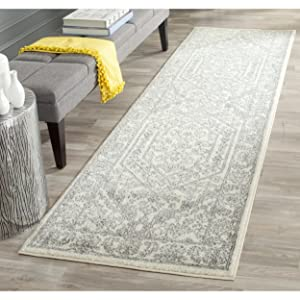 "Safavieh Adirondack Collection ADR108B Ivory and Silver Oriental Vintage Medallion Runner (2'6"" x 12')"