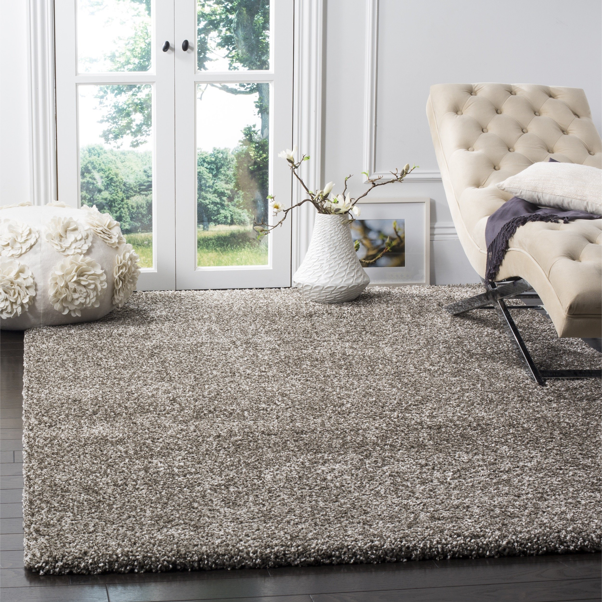 Safavieh Milan Shag Collection SG180-8080 Grey Square Area Rug (7' Square)