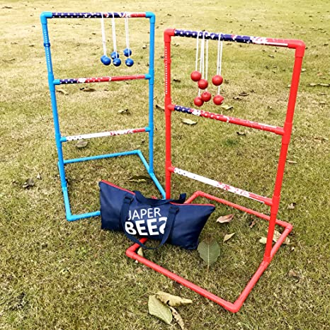 JAPER BEES Patriotic Ladder Ball Game Set, Rope Ladder Ball Toss, Golf Toss,