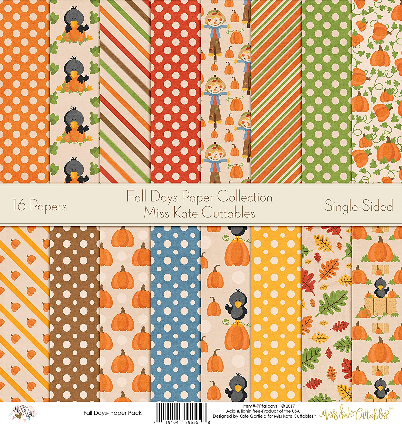 Pattern Paper Pack - Fall Days - Scrapbook Card Stock Single-Sided 12x12 Collection Includes 16 Sheets - by Miss Kate Cuttables