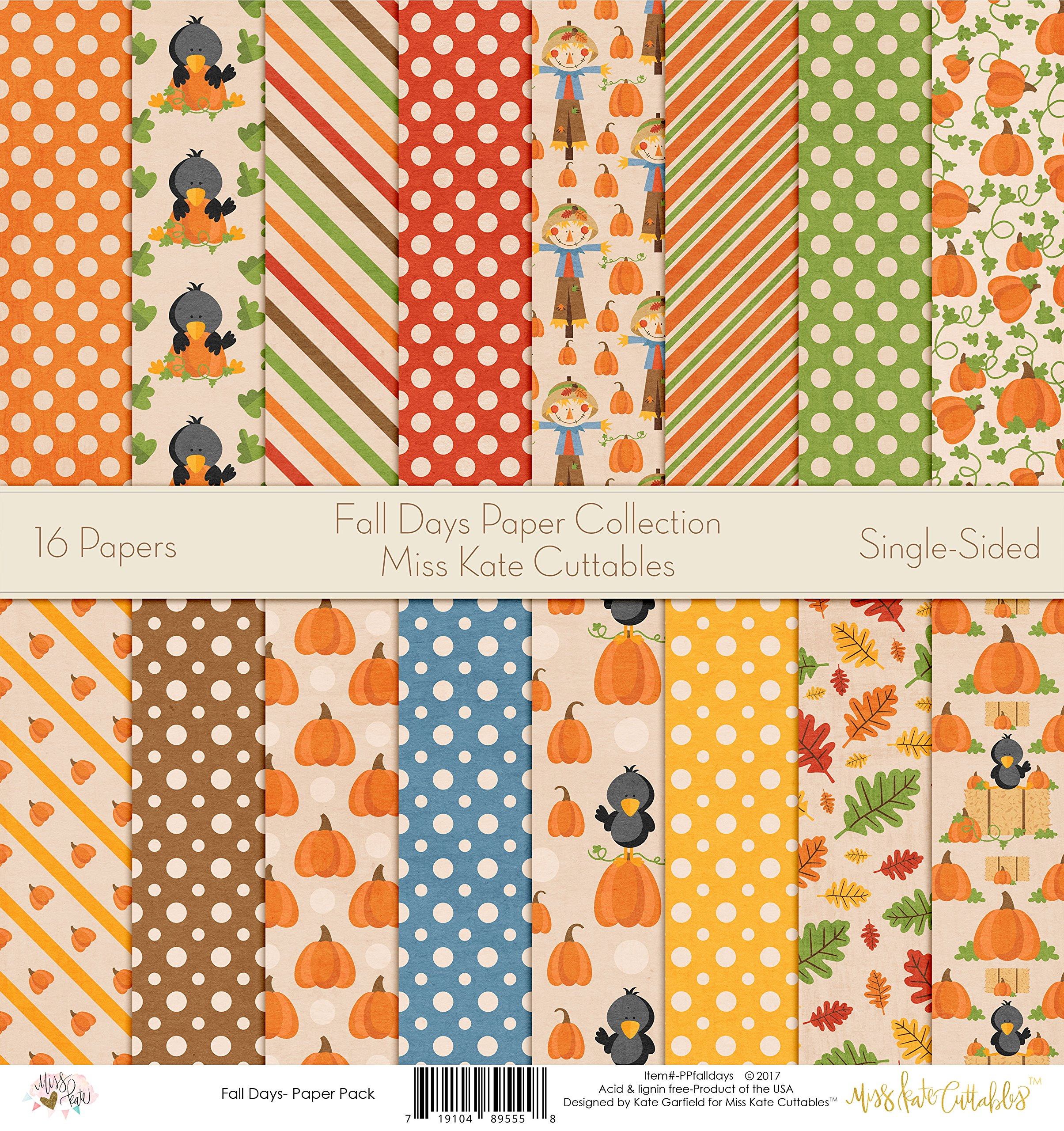 Pattern Paper Pack - Fall Days - Scrapbook Card Stock Single-Sided 12''x12'' Collection Includes 16 Sheets - by Miss Kate Cuttables