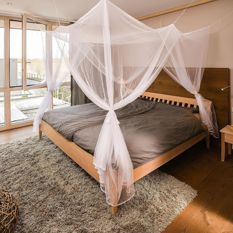 /Grande Mosquitera para cama doble Aire libre espacio/ 200/x 220/x 200/cm, poli/éster, Wei/ß mit vier /Öffnungen, cama doble