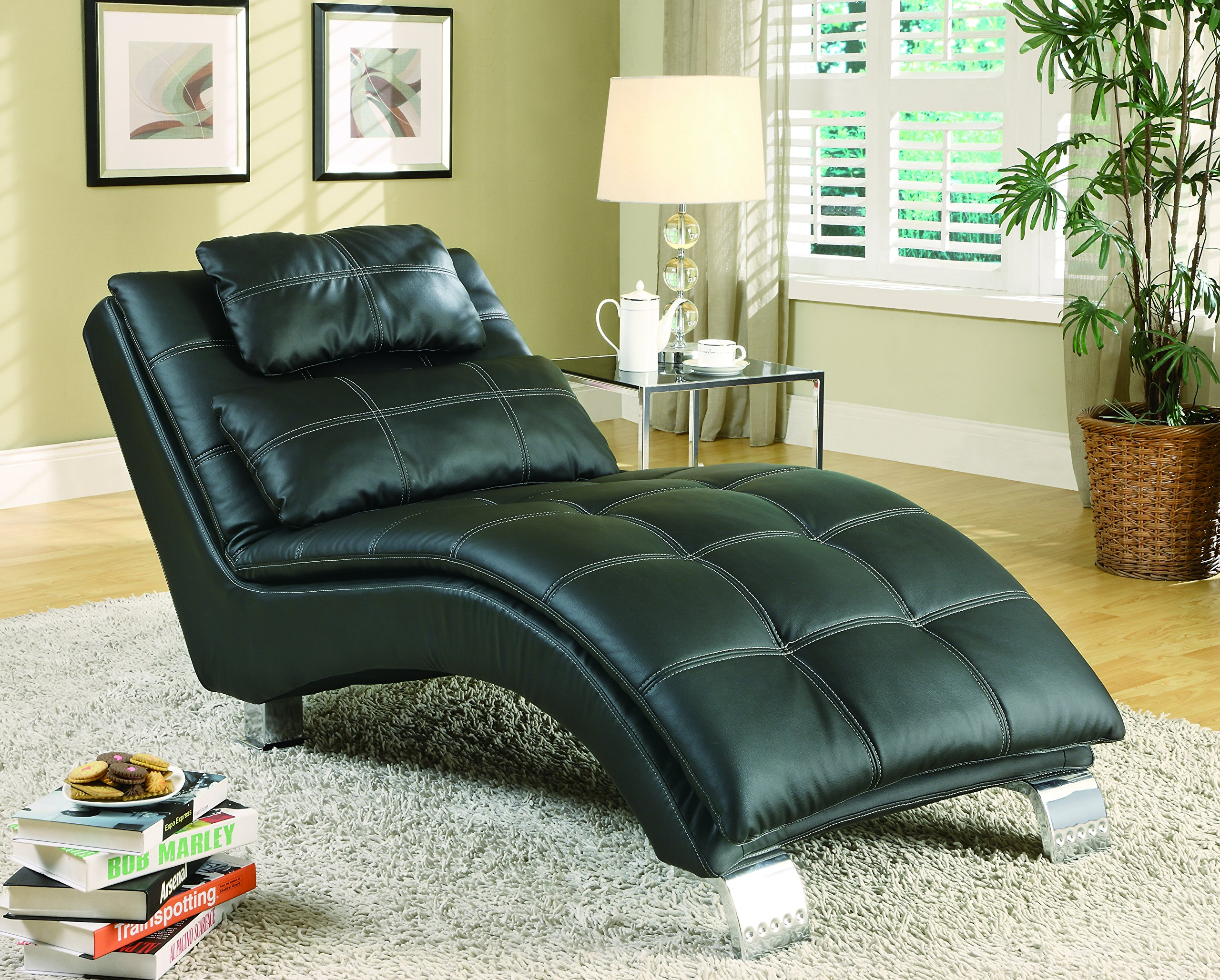 Dilleston Upholstered Chaise Black by Coaster Home Furnishings