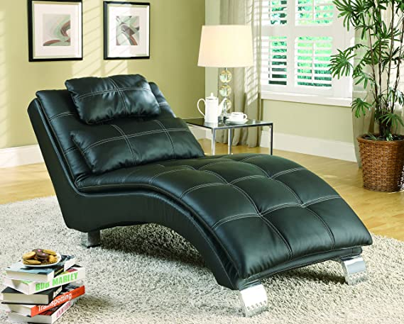 Amazoncom Coaster Contemporary Black Faux Leather Living Room