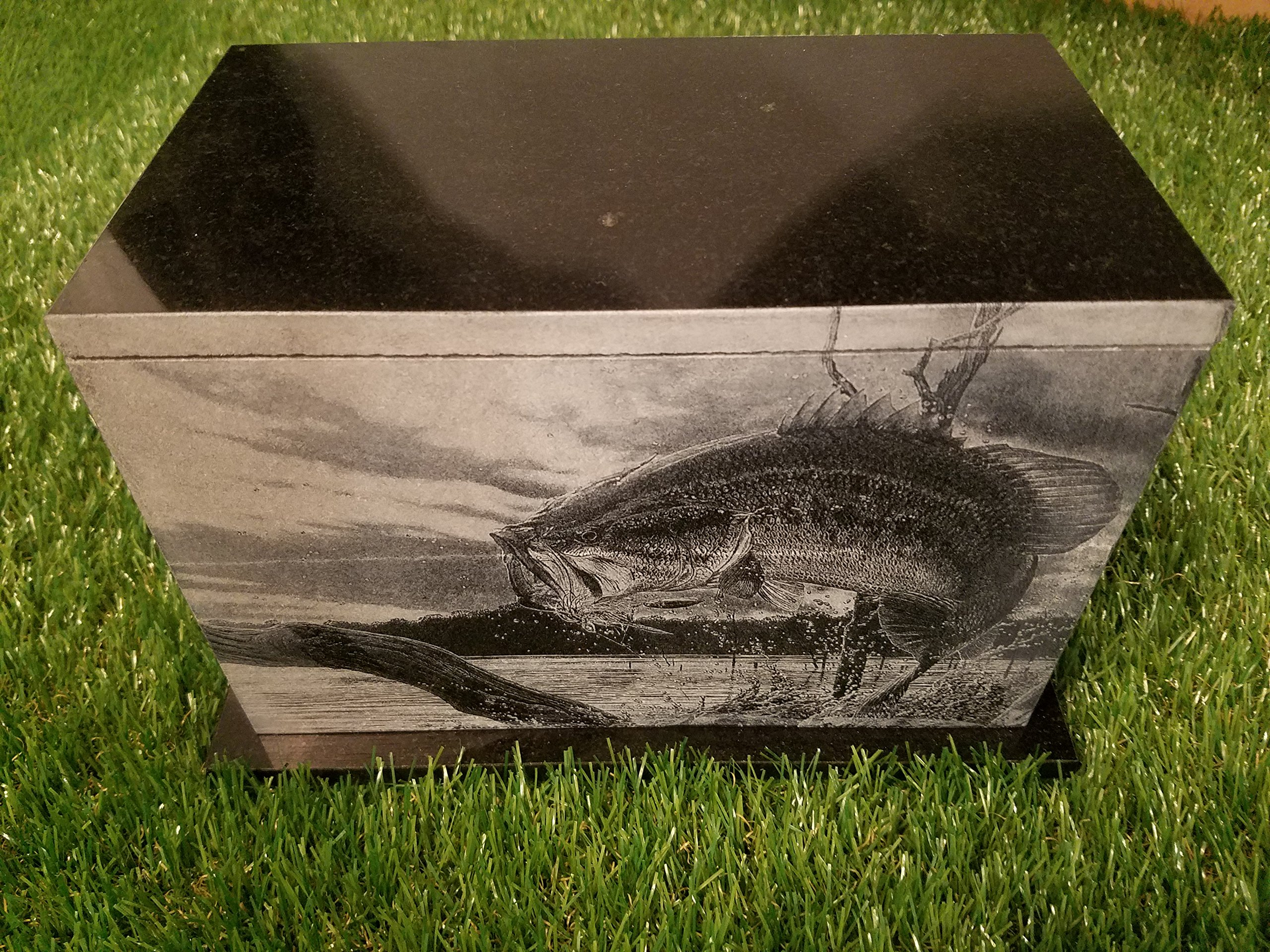 175 CU.In Human Granite Urn Engraved Deer Hunting Bass Fishing by The Memories Collection (Image #7)