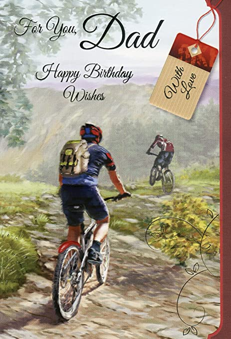 for you dad happy birthday mountain biking birthday greeting card
