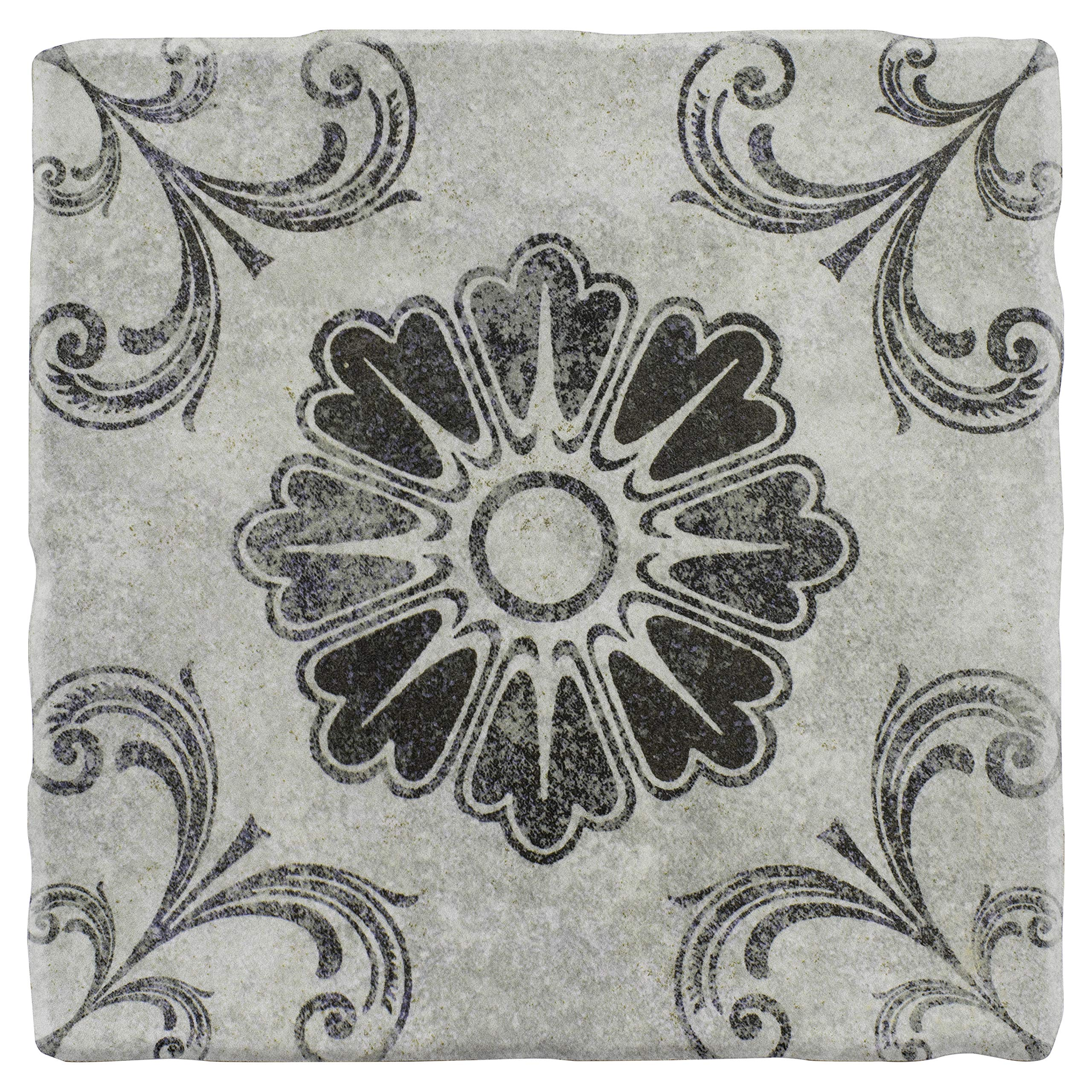 SomerTile FEB8CCD3 Cana Cendra Ceramic Floor and Wall Tile, 7.75'' x 7.75'', Grey/Blue/Brown