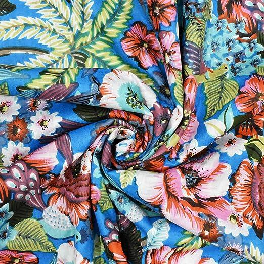 "Craft Hand Block Leaf Print Dressmaking Sewing 43/"" Cotton Fabric By 1 Yard"