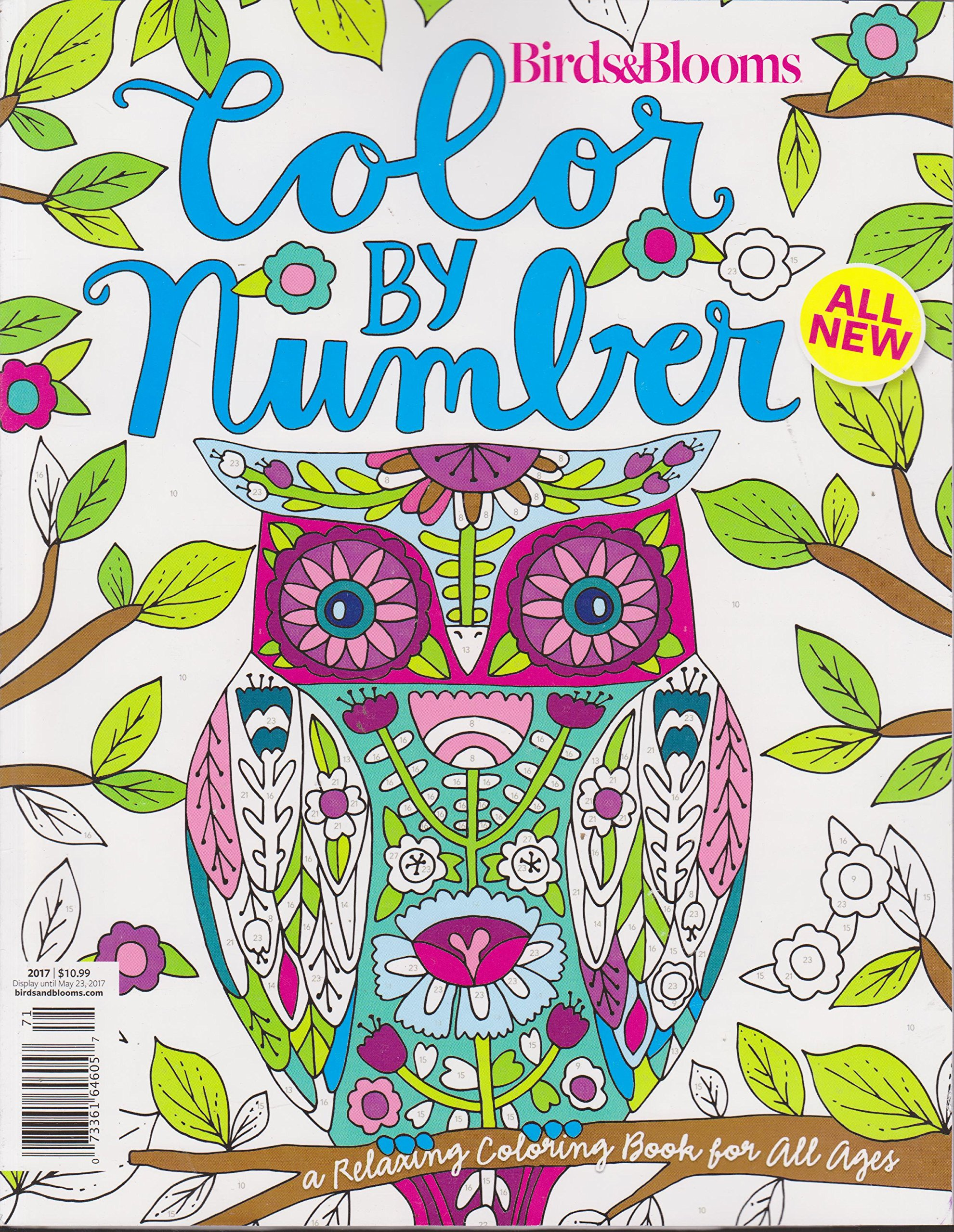 Birds Blooms Color By Number Magazine 2017 Amazon Books