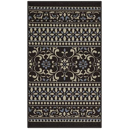 Maples Rugs Kitchen Rug - Zoe 1\'8 x 2\'10 Non Skid Washable Throw Rugs [Made  in USA] for Entryway and Bedroom, Brown
