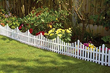 Attractive White Picket Fence Effect Border Edging   6 Pack
