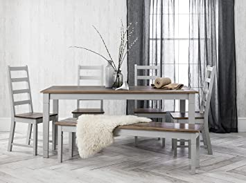 Canterbury Dining Set Table 5 Chairs and Bench in Silk Grey and Dark ...