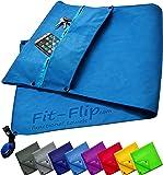 3-tlg Fitness-Handtuch Set mit Reißverschluss Fach + Magnetclip + extra Sporthandtuch | zum Patent angemeldetes Multifunktionshandtuch, Fit-Flip Microfaser Handtuch