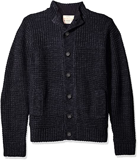 Weatherproof Vintage Mens Waffle Cardigan Sweater Jacket Navy