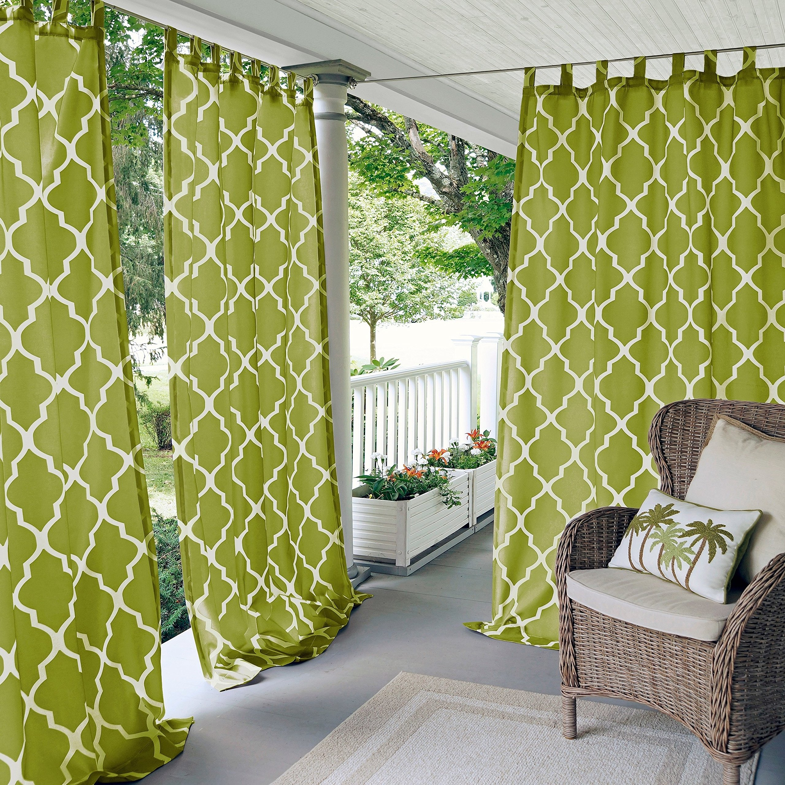 N&T 1 Piece Grass Trellis Gazebo Curtain Panel 84 Inch, Green Moroccan Print Outdoor Curtain Water Resistant for Patio Porch, Light Filtering Indoor/Outdoor Curtain Pergola Sunroom Tab Top, Polyester