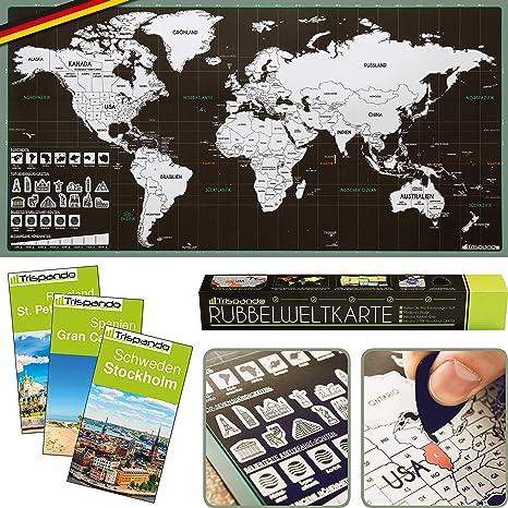 Trispando Weltkarte Zum Rubbeln Inkl 3 Reisefuhrer