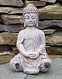 Home & Garden Bouddha assis en céramique effet bois usé pour décorer à placer en extérieur ou intérieur