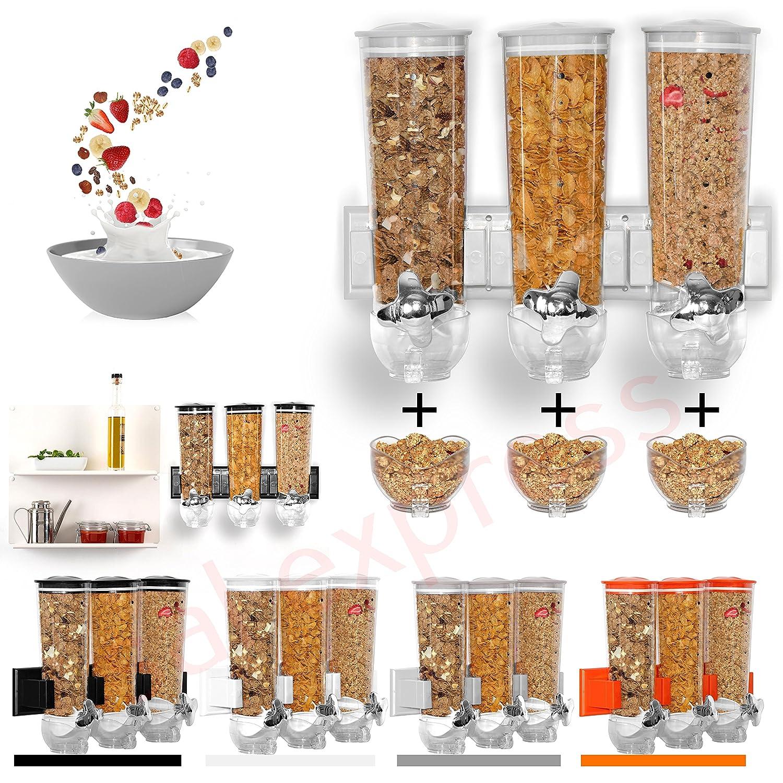 SaleemSpace Dispenser//contenitore a parete triplo per cereali e alimenti secchi White