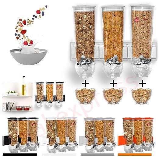 SaleemSpace - Dispensador / unidad de almacenamiento triple de cereales y alimentos secos, para montar en la pared plata: Amazon.es: Hogar