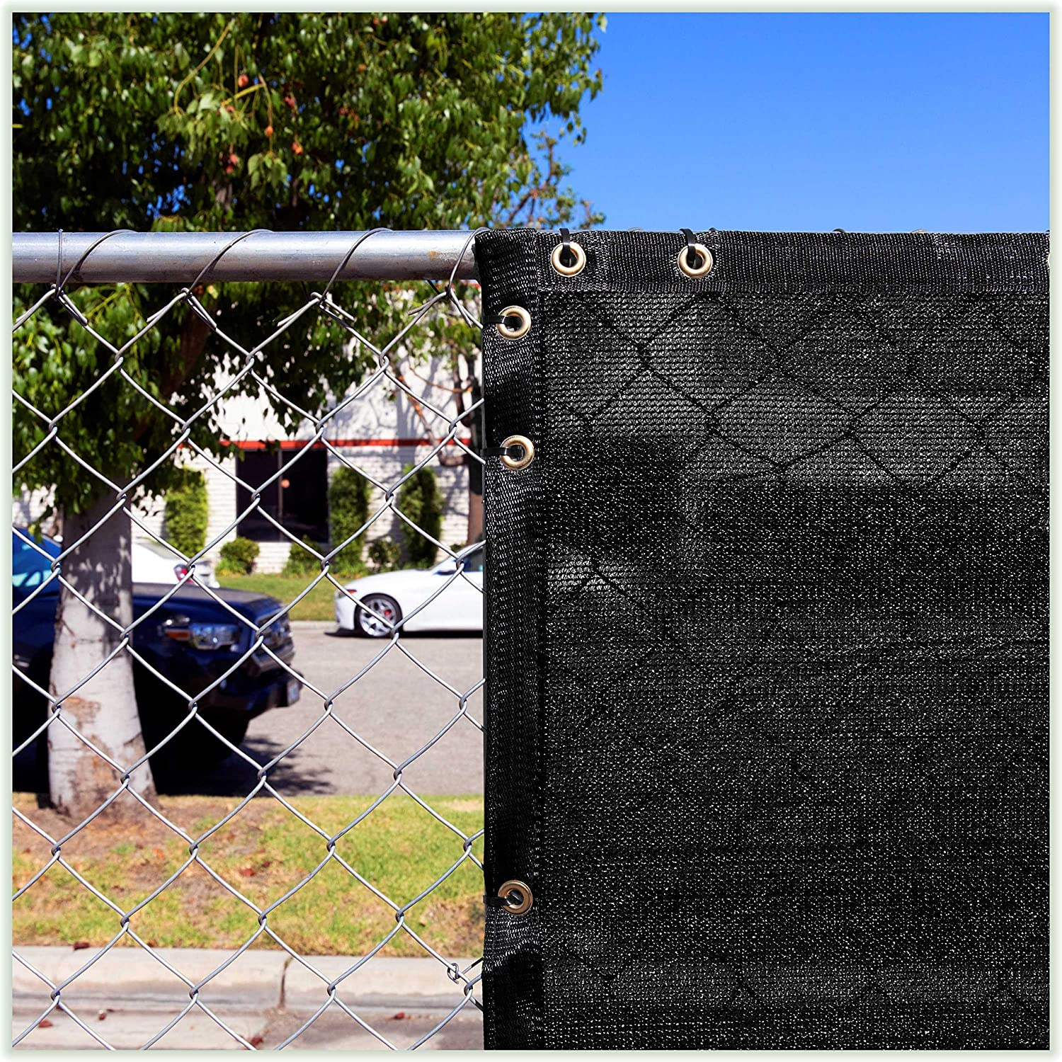 Amazon Com Colourtree 8 X 50 Black Fence Privacy Screen Windscreen Cover Fabric Shade Tarp Plant Greenhouse Netting Mesh Cloth Commercial Grade 170 Gsm Heavy Duty 3 Years Warranty