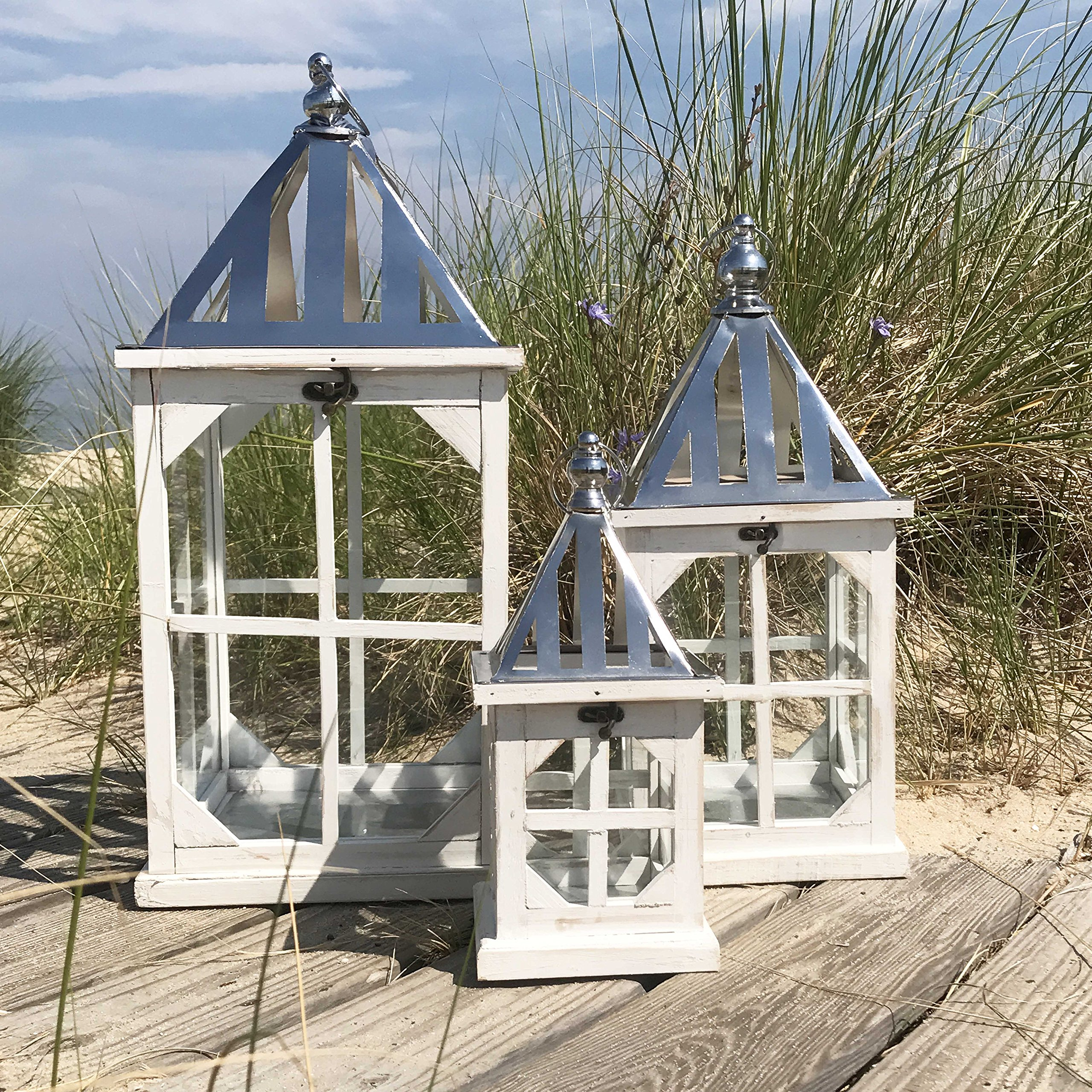 The Crosby Street Cross Post Candle Lanterns, Set of 3, Silver Metal Slated Roof, Top Opening, Swing Latch, Hanging Loop, Solid Wood Construction, Glass, 24, 19, 13 Inches Tall, By Whole House Worlds by Whole House Worlds