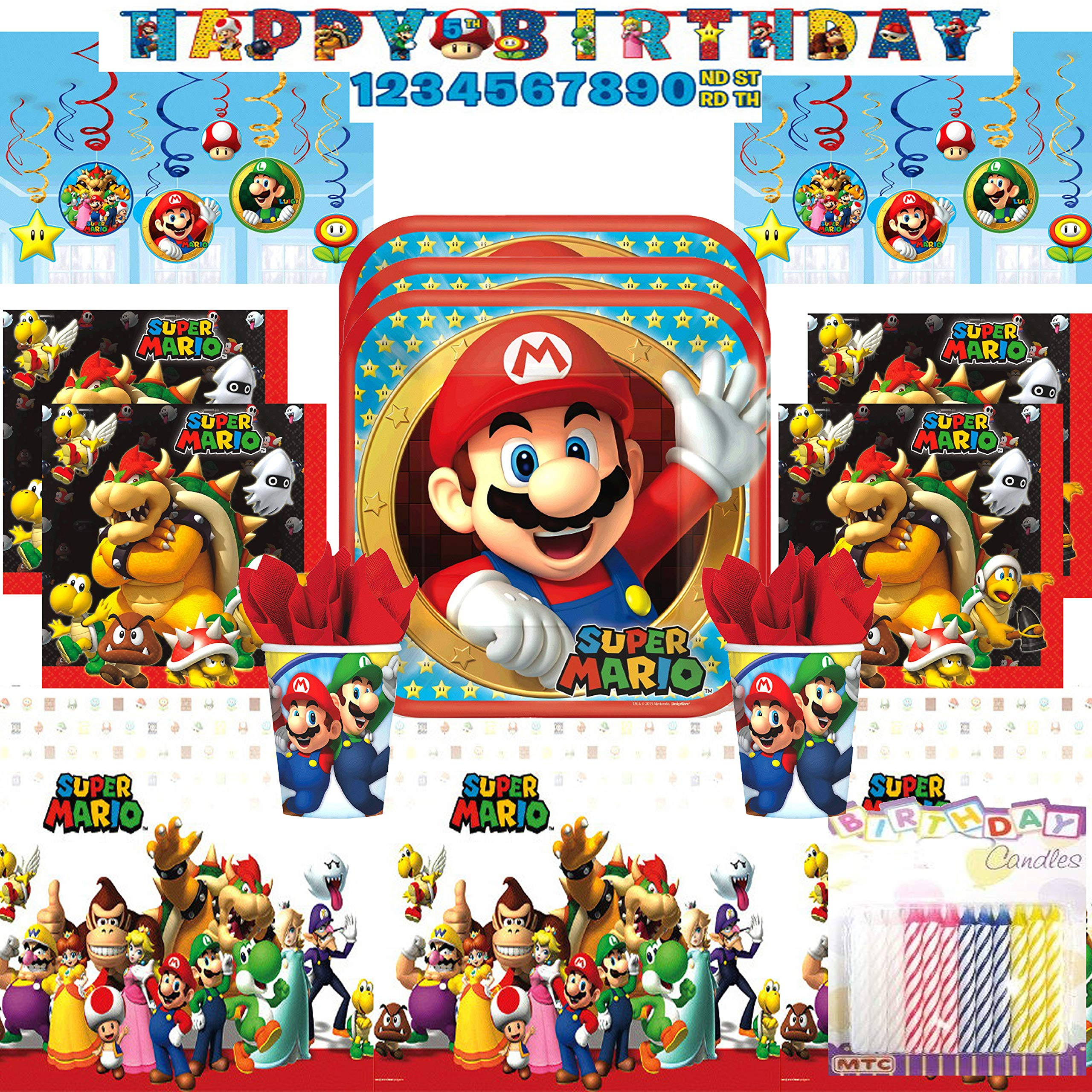 Super Mario Bros Ultimate Birthday Party Supply Pack Serves 16: Dinner Plates, Luncheon Napkins, Cups, Table Cover, Swirl Decorations, and Birthday Banner with Birthday Candles (ULTIMATE PARTY BUNDLE for 16) by LLILYKAI VALUE BUNDLES