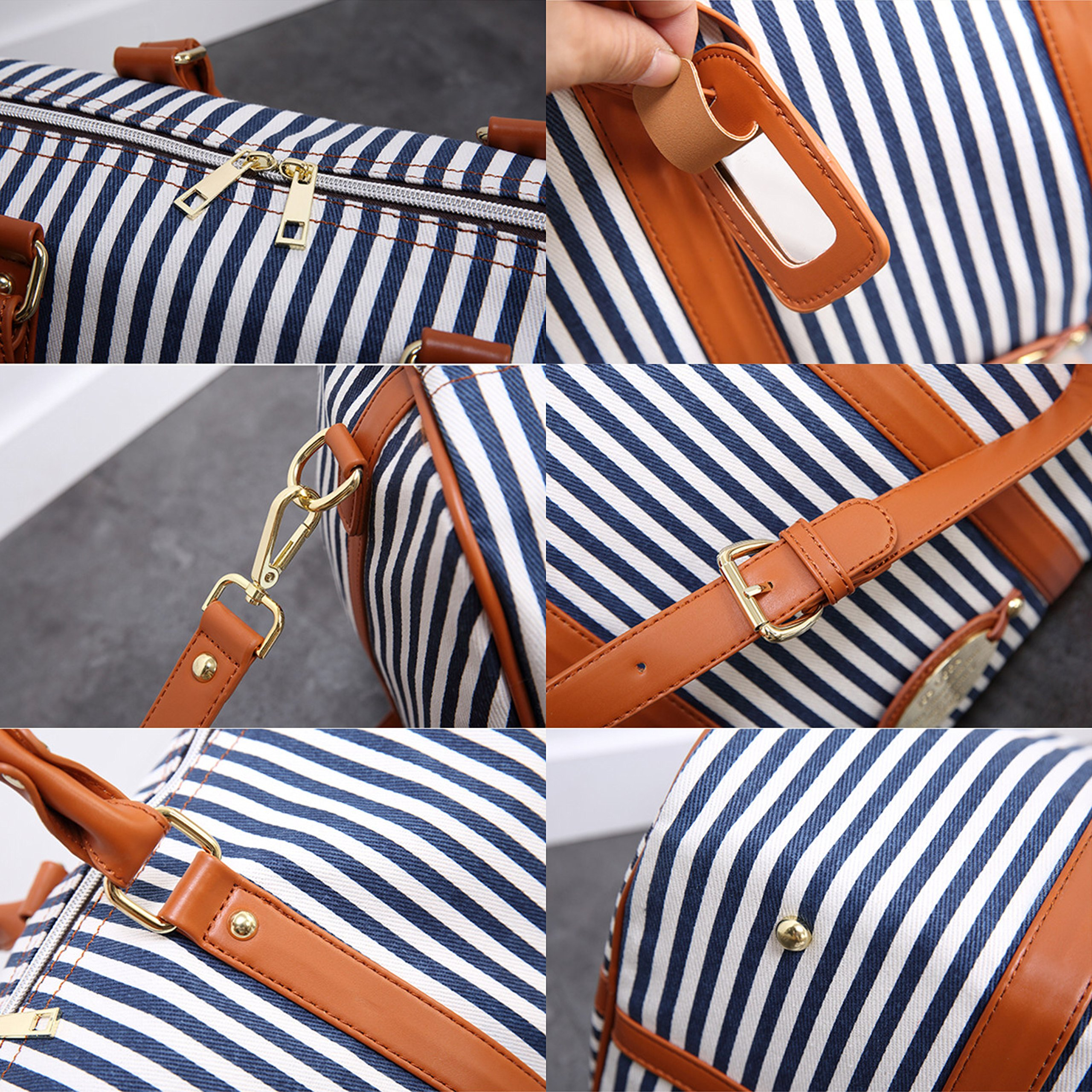 MooYang Women Fashionable Weekender Travel Duffle Tote Bag. Canvas Striped Bag for Overnight Trip,Work,College,Gym,Vacations. by MooYang (Image #5)