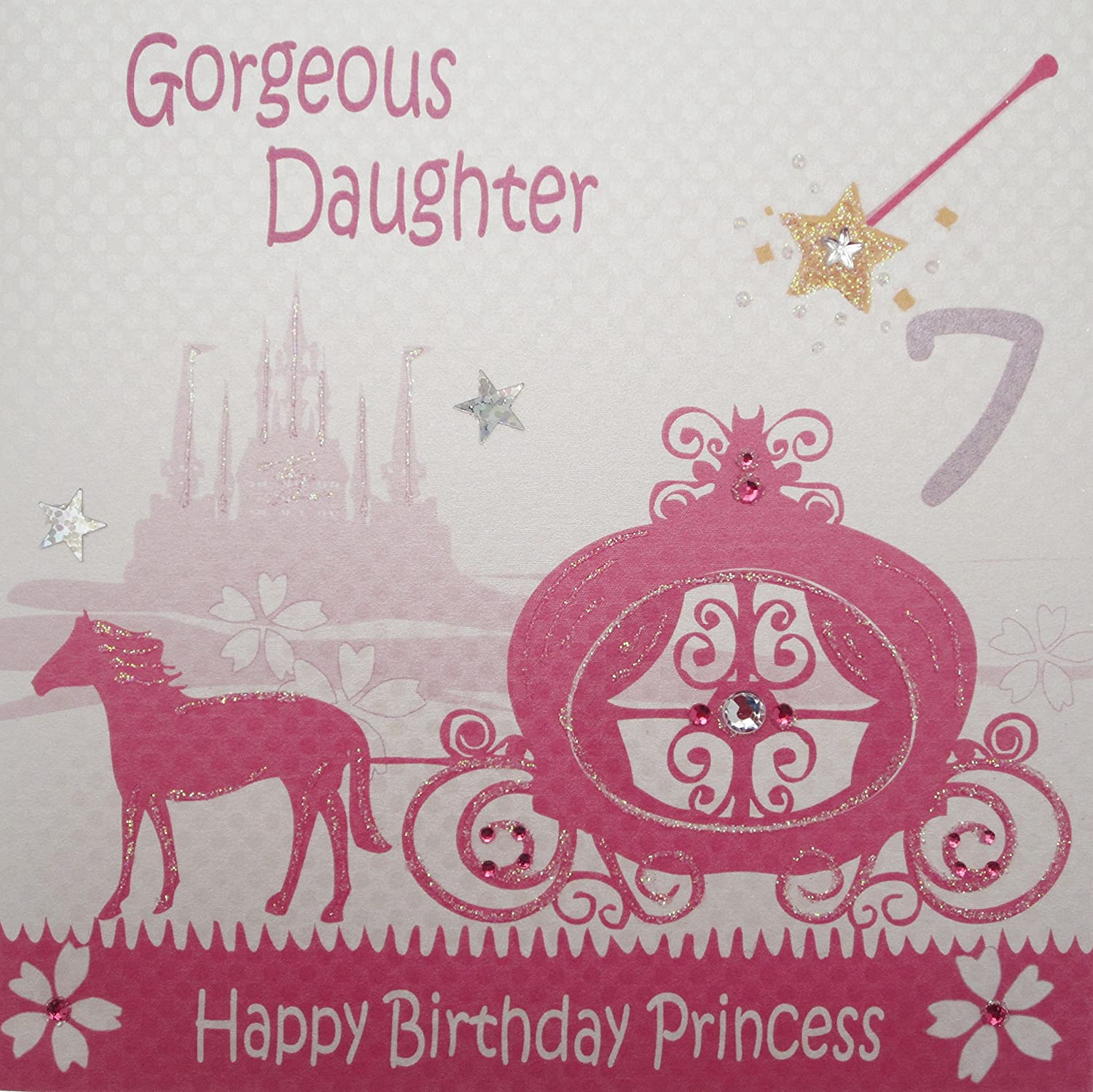 "White Cotton Cards ""Pink Princess Carriage Gorgeous Daughter 7"
