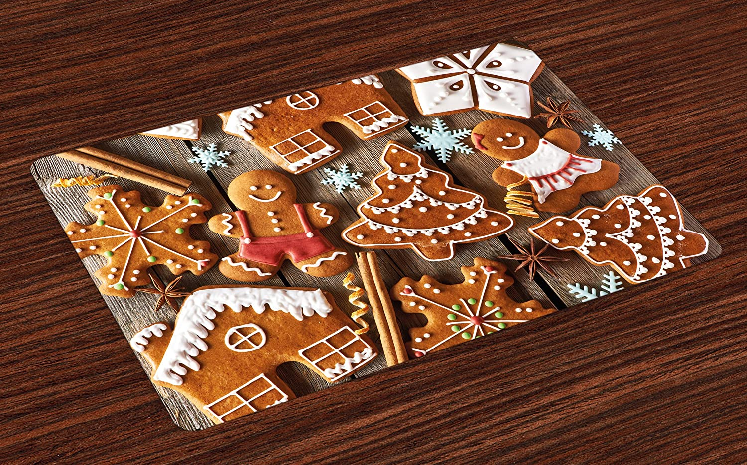 Ambesonne Gingerbread Man Place Mats Set of 4, Tasty Looking Traditional Cookies Little Snowflakes Cinnamon, Washable Fabric Placemats for Dining Room Kitchen Table Decor, Umber Pale Brown White
