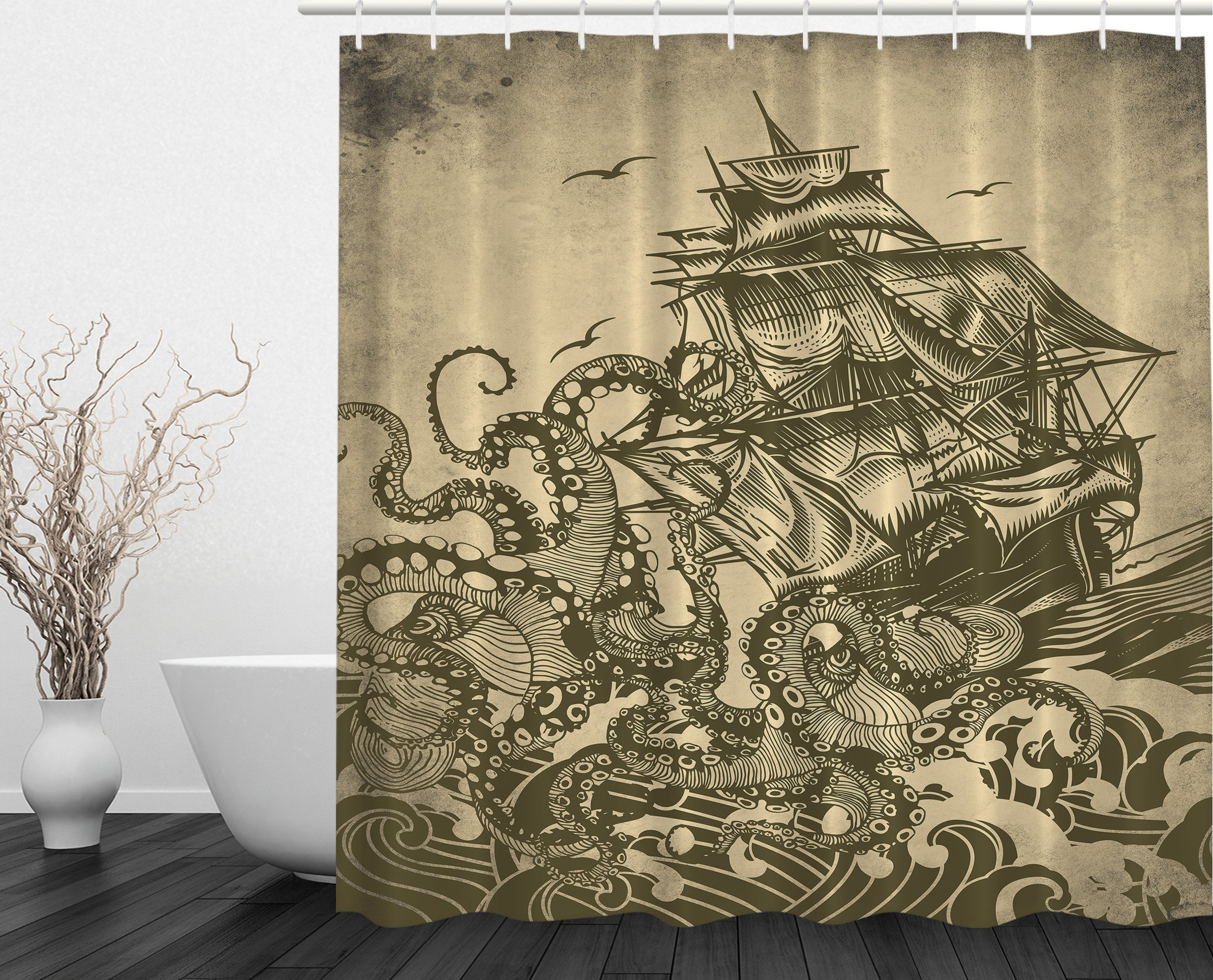 Ambesonne Ocean Shower Curtain Sail Boat Waves and Octopus Kraken Tentacles Country Decorations for Bathroom Sepia Print Polyester Fabric Shower Curtain, Yellow Olive