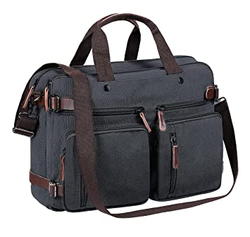 Tecool Portatil Convertible Mochila, Hombres Bolsa de Mensajero Lona Bolso Bandolera Mujer Cartera de Mano Travel Backpack 15.6 Pulgada Laptop Bag Canvas ...