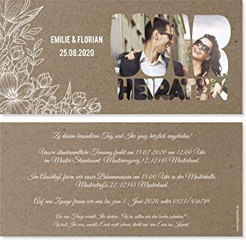 Hochzeit Einladungskarten Hochzeitskarten Vintage Kraftpapier Weisse