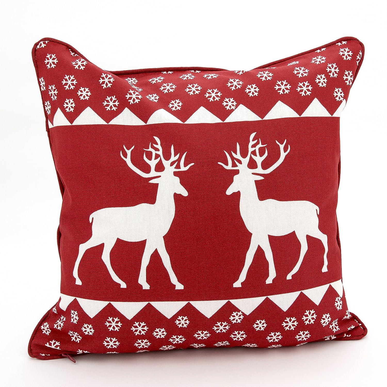 Adam Linens 100% Cotton Printed Christmas Festive XMAS Design Cushion Cover Deer Red Adam's