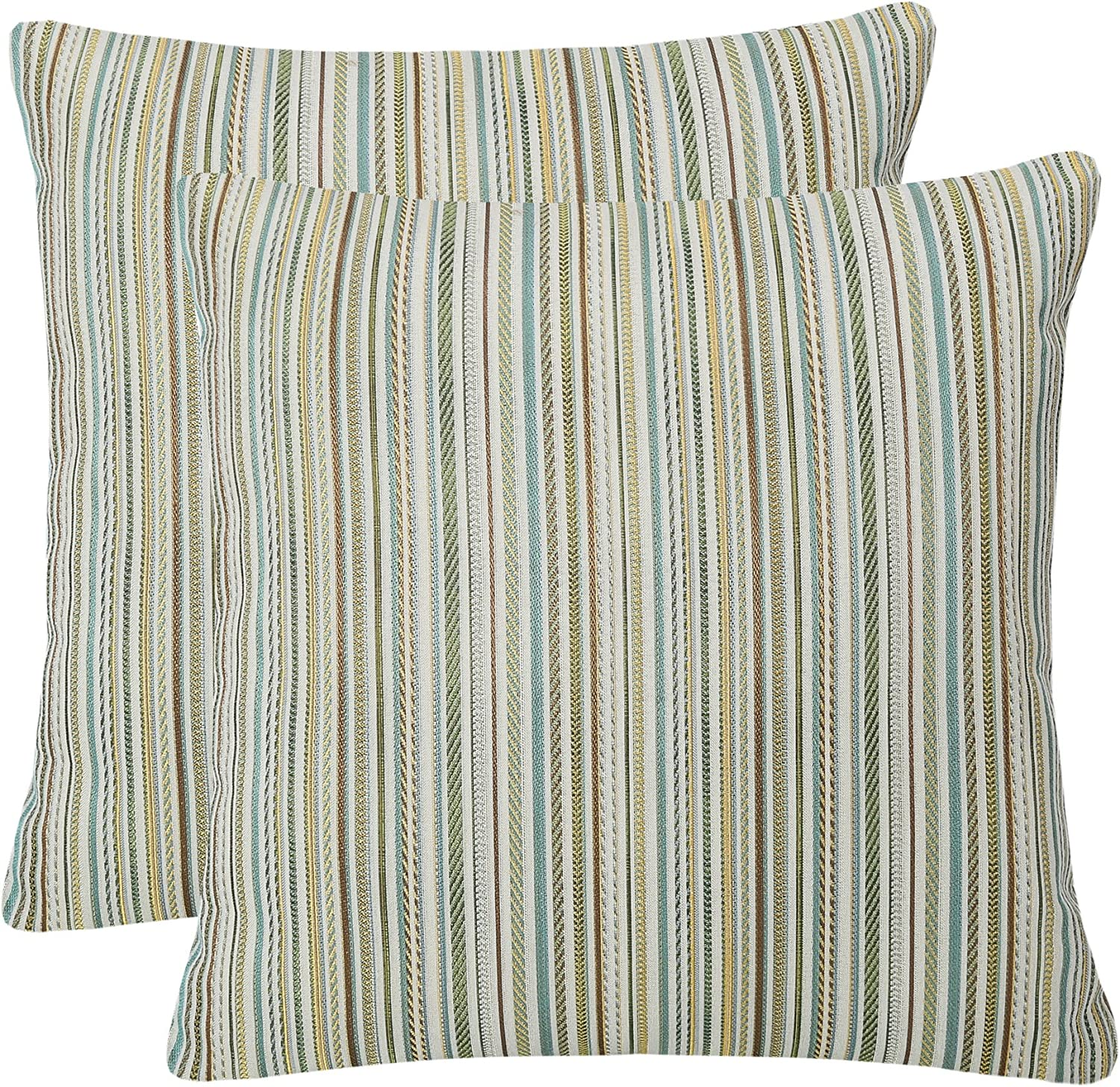 YUKORE Pack of 2 Simpledecor Throw Pillow Covers Couch Pillow Shells,20X20 Inches,Jacquard Colorful Stripes,Multicolor Teal