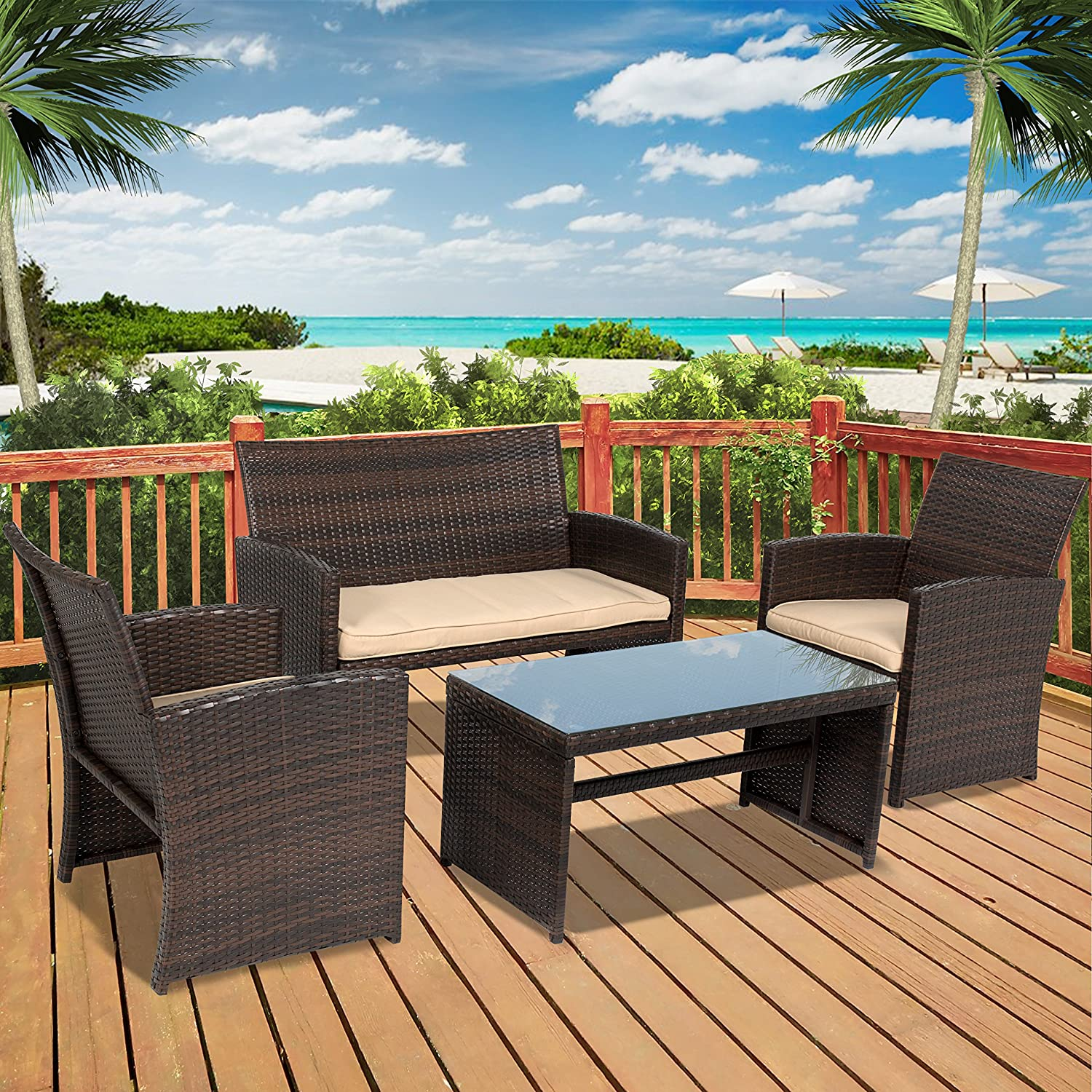 Best Choice Products 4pc Wicker Outdoor Patio Furniture Set Custioned Seats - Shop Amazon.com Patio Furniture Sets