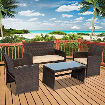 Best Choice Products 4pc Wicker Outdoor Patio Furniture Set Custioned Seats Part 14