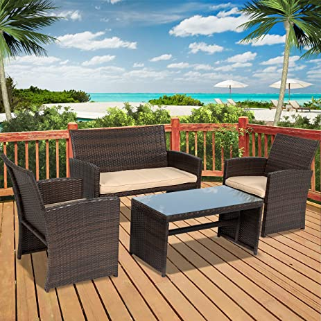 Amazon.Com : Best Choice Products 4Pc Wicker Outdoor Patio