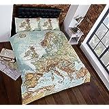 Ensemble literie housse de couette cartes vintage doubles (carte du monde en bleu, vert, marron, blanc)
