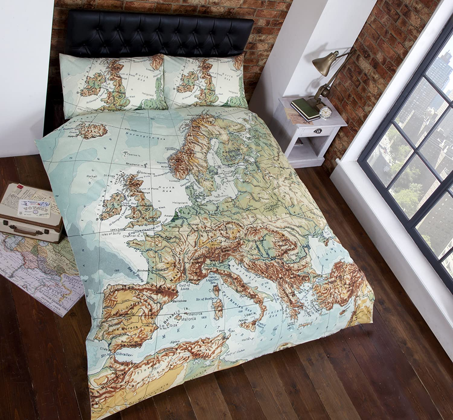 Vintage Maps Panel Duvet Cover Quilt Bedding Set, Double (World Map in  Blue, Green, Brown, White)