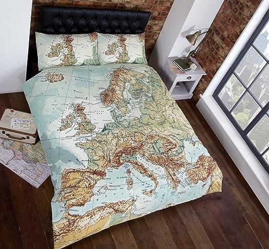 vintage maps panel duvet cover quilt bedding set king size world map in blue