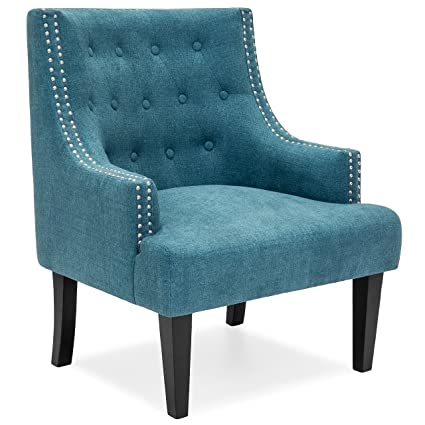 Fabulous Best Choice Products Tufted Classic Style Accent Chair With Nailhead Detail Soft Cushion Black Wooden Legs Teal Inzonedesignstudio Interior Chair Design Inzonedesignstudiocom