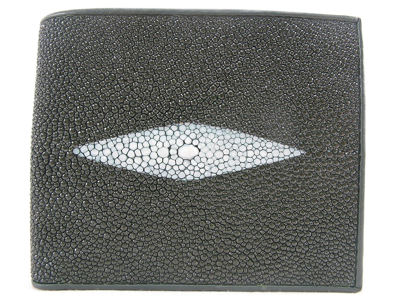 PELGIO Real Genuine Stingray Shagreen Skin Leather Bifold Wallet