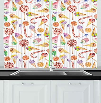 Superieur Colorful Kitchen Curtains By Ambesonne, Ice Cream Candy Cakes Lollipop  Clementine Fruits Cute Birthday Celebration