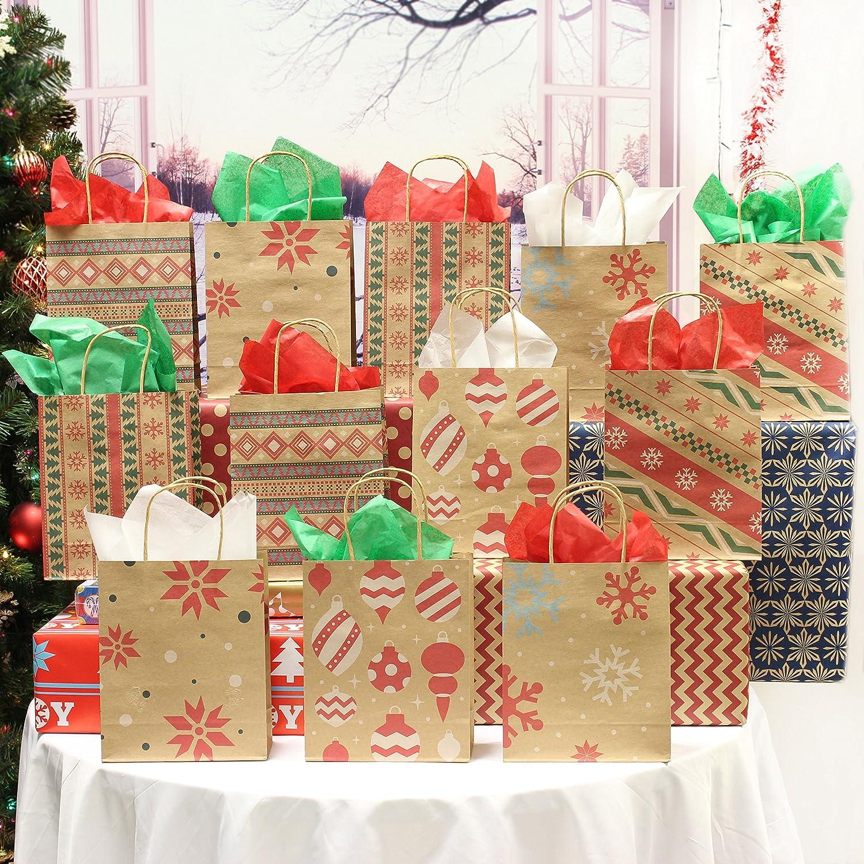 07e7c7b63575 Amazon.com  24 Christmas Kraft Gift Bags with Assorted Christmas Prints for  Kraft Holiday Paper Gift Bags