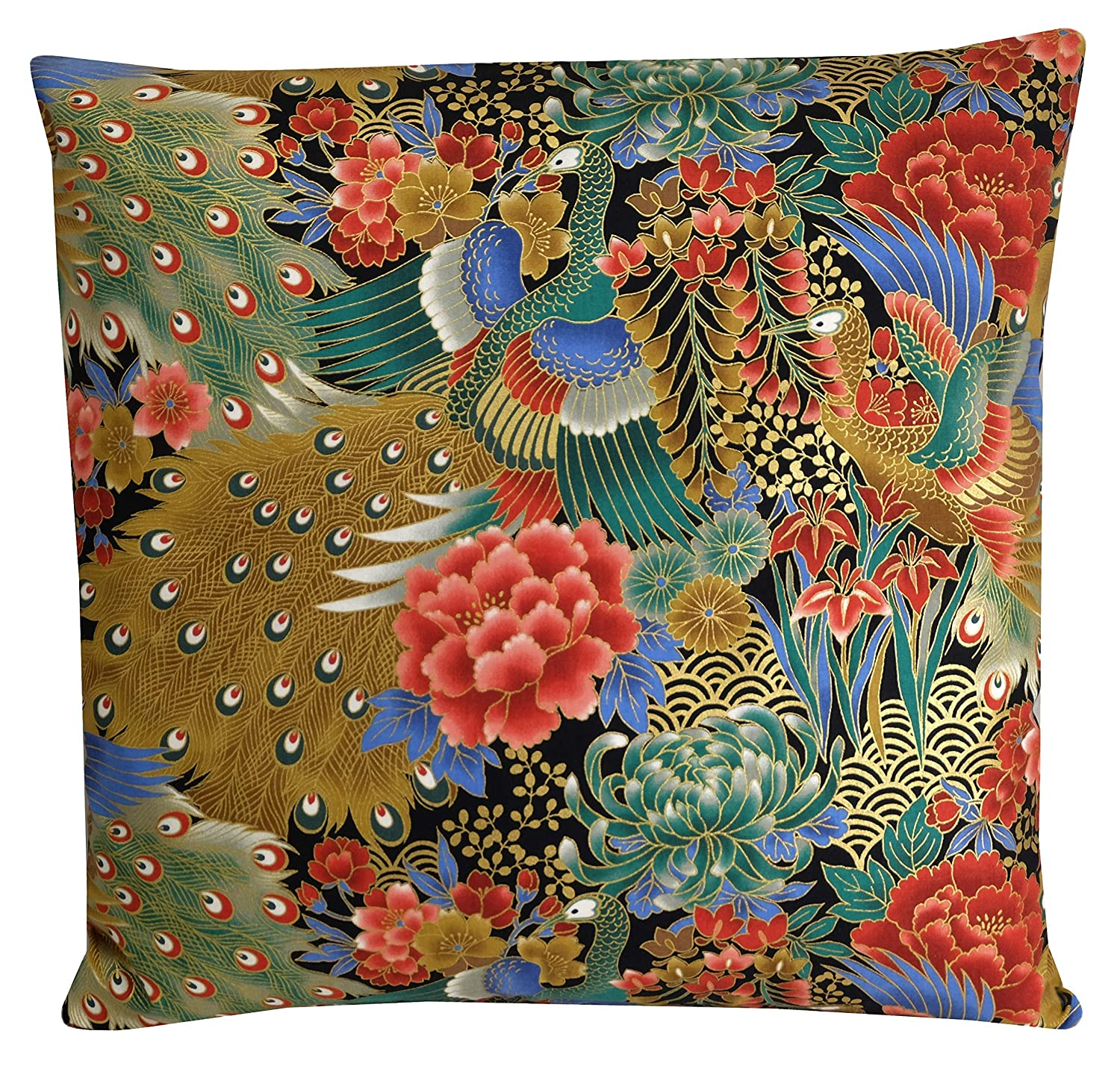 Peacock Cushion Teal Blue Pink Oriental Exotic Bird Pillow Cover 18x18