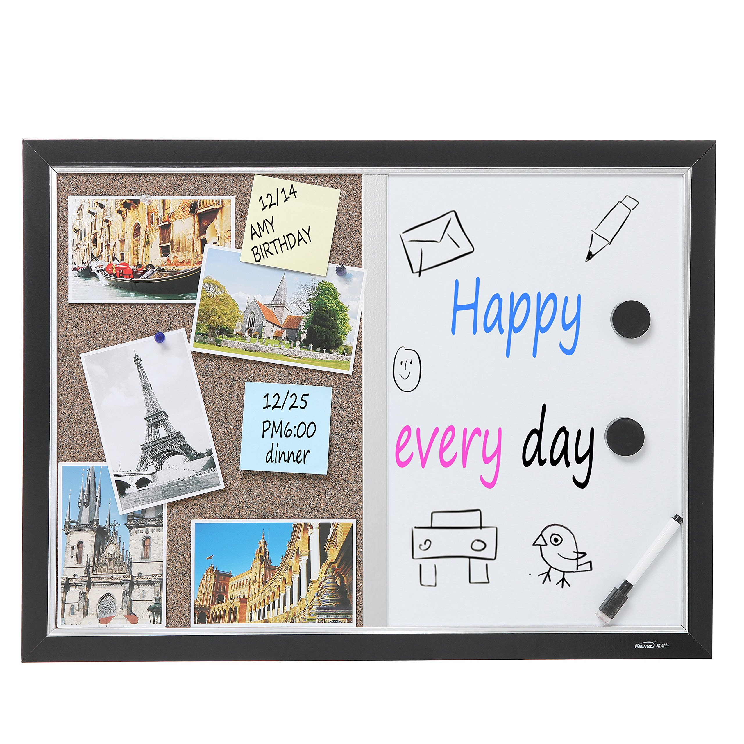 2-in-1 Black Wood Framed Wall Mounted Combination Bulletin Cork ...